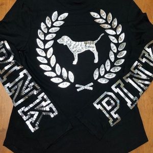 PINK  Victoria's Secret black t with bling
